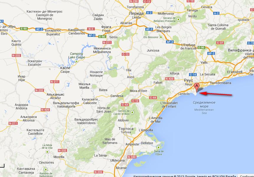 Ла пинеда на карте испании